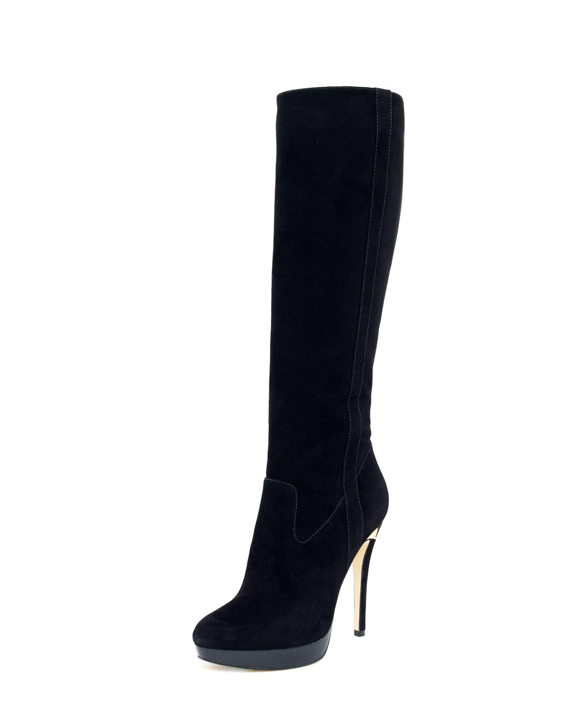 41b3d0520830 Lyst - Michael Kors York Suede Knee Boot in Black
