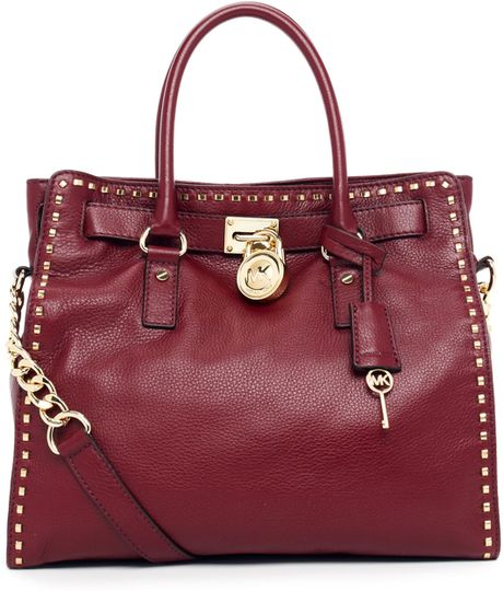 michael kors hamilton large tote in purple bordeaux lyst. Black Bedroom Furniture Sets. Home Design Ideas