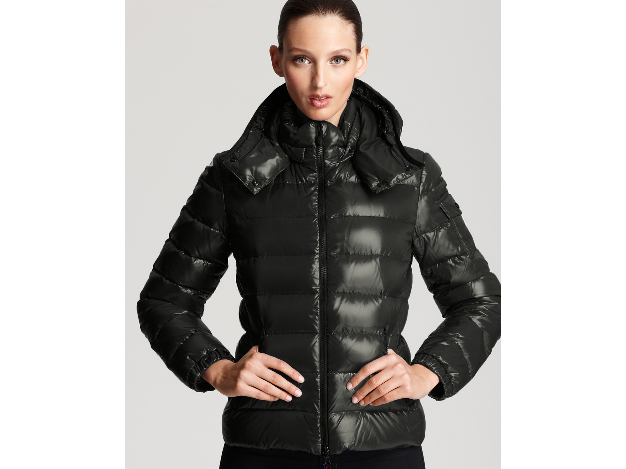 Moncler Bady Lacquer Hooded Short Down Coat In Black Lyst