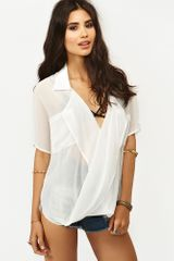 Nasty Gal Chiffon Twist Blouse - Lyst