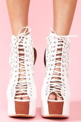 Nasty Gal Lace Up Platform White in Beige (white) - Lyst