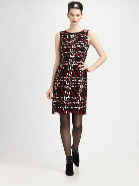 Oscar De La Renta Embroidered Silk Dress in Red (black) - Lyst