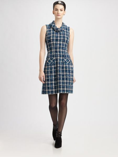 Oscar De La Renta Silk Tweed Dress in Blue (black) - Lyst