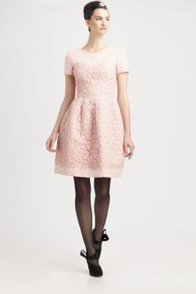 Oscar de la Renta Lace Trimmed Silk Dress - Lyst