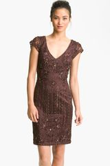 Sue Wong Embroidered Sheath Dress - Lyst