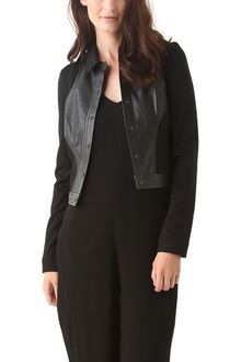 T By Alexander Wang Ponte Leather Combo Cropped Jacket - Lyst