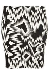Topshop Crazy Ikat Print Bodycon Skirt in Black - Lyst
