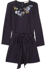 Vanessa Bruno Embroidered Textured Cotton Dress - Lyst