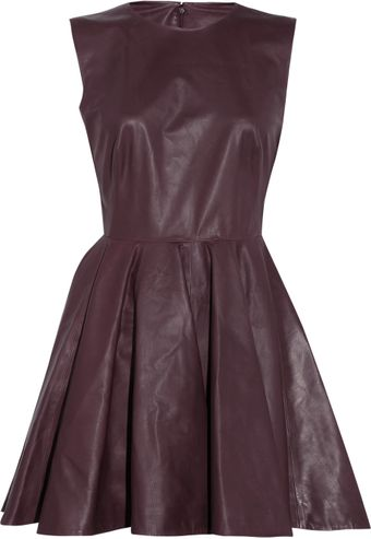 Alexander McQueen Pleated Leather Dress - Lyst