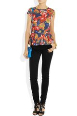 Alice + Olivia Floralprint Stretchjersey Peplum Top in Multicolor (multicolored) - Lyst