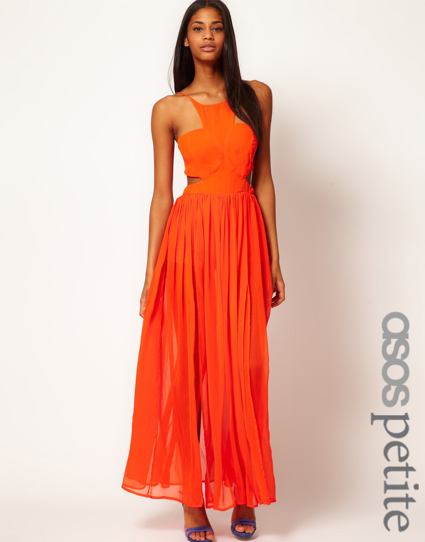 Asos Maxi Dress With Strappy Back In Orange Lyst
