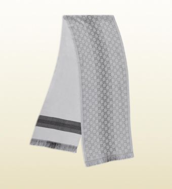 Gucci Gg Pattern Knit Scarf with Web Detail - Lyst