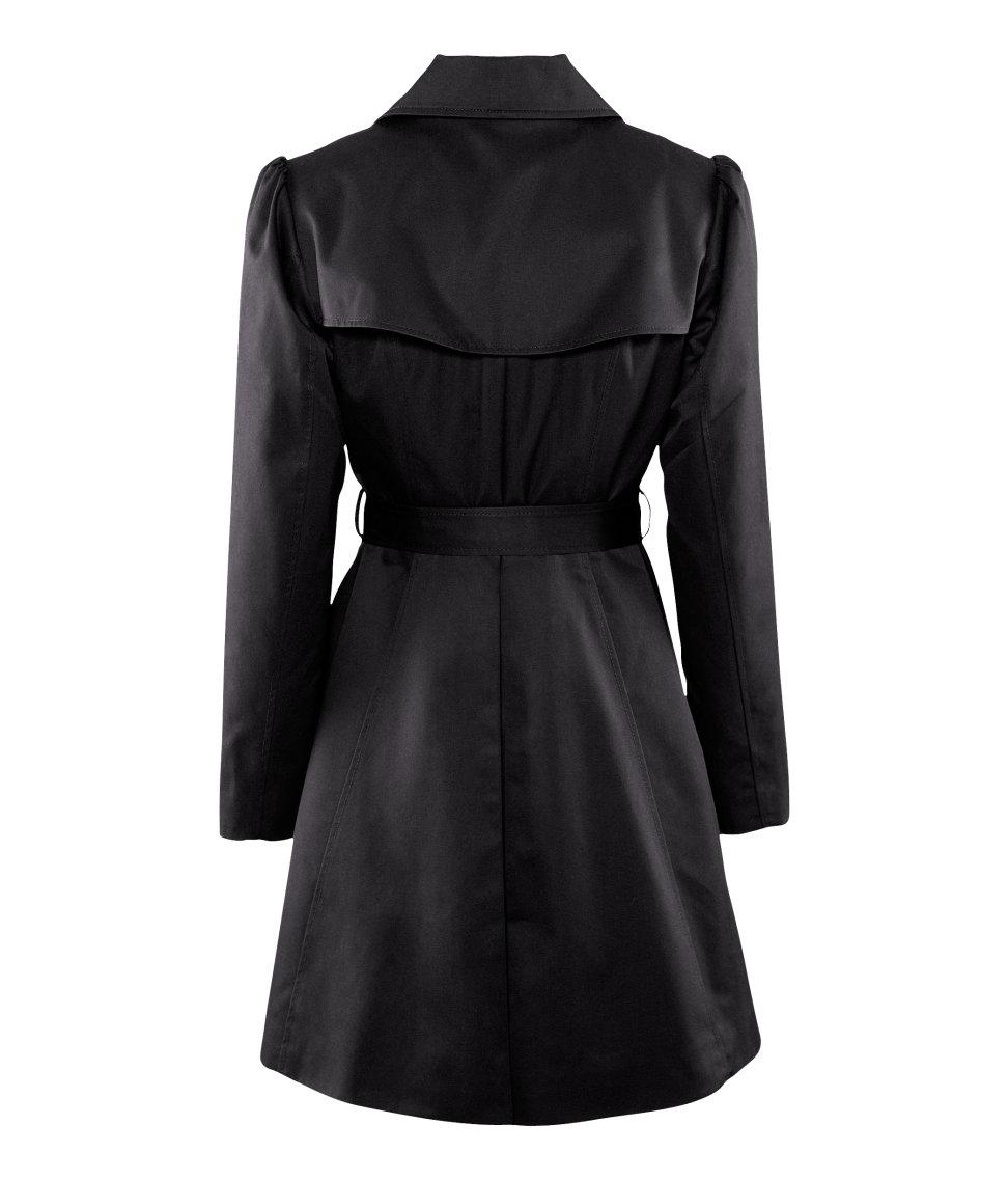 h m trench coat in black lyst. Black Bedroom Furniture Sets. Home Design Ideas
