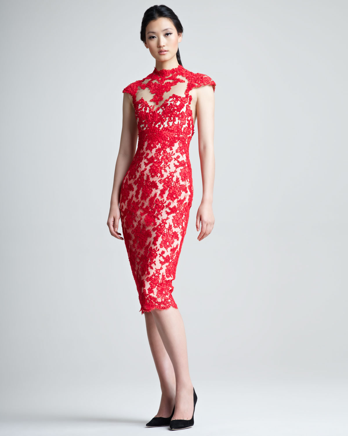 Lyst - Marchesa Lace Cocktail Dress in Red