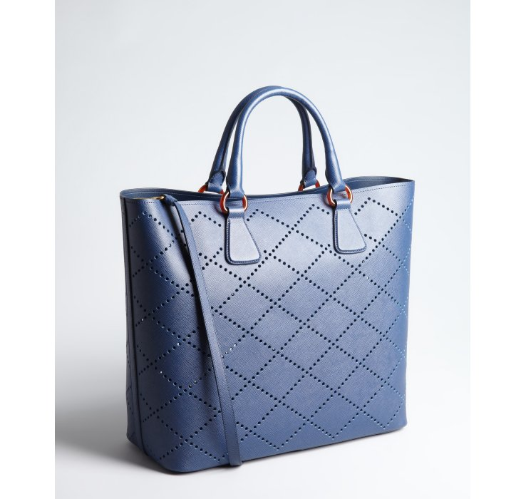 Prada Diamond Cutout Saffiano Leather Pouch Tote in Blue | Lyst - prada weekender baltic blue