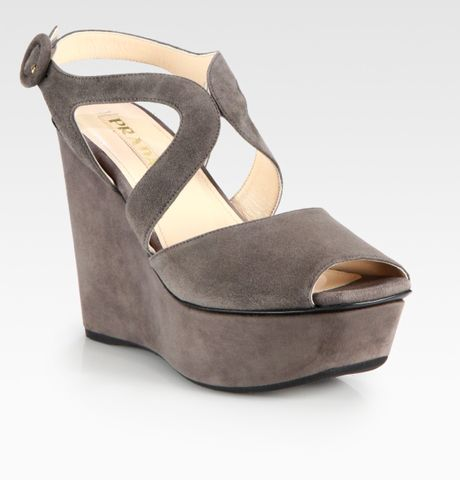 prada suede wedge sandals in gray grey lyst