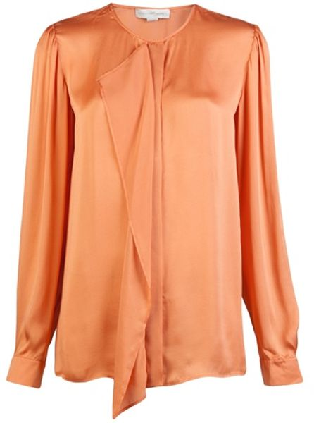 Stella Mccartney Fluid Ruffle Blouse in Orange - Lyst