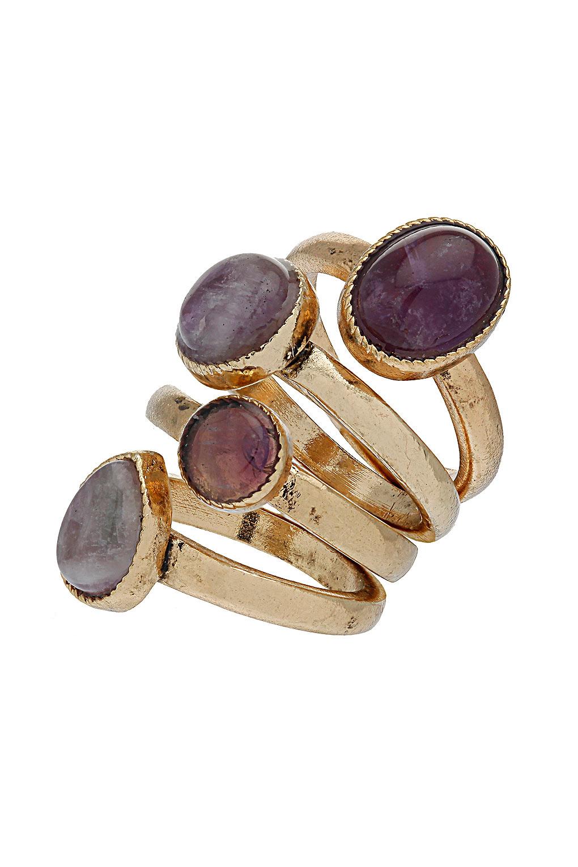 Lyst Topshop Semi Precious Stone Ring Set In Purple