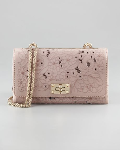 Valentino Lace Leather Crossbody Bag in Pink - Lyst