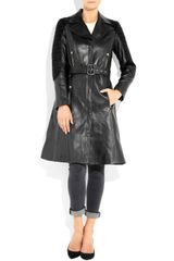 Versace Quilted Corduroy Paneled Leather Trench Coat in Black - Lyst
