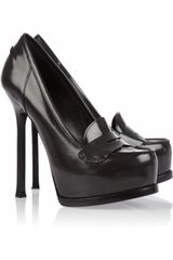 Yves Saint Laurent Tribtoo Loaferstyle Leather Pumps - Lyst