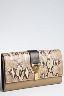 Yves Saint Laurent  Snakeskin and Leather Chyc Clutch - Lyst