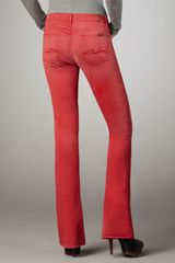 7 For All Mankind Kaylie Sunbleached Red Slim Bootcut Jeans in Red (sunbleached red) - Lyst