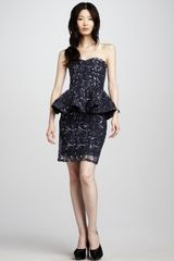 Alice + Olivia Elise Sequined Peplum Dress - Lyst