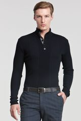 Armani Ribbed Button Henley - Lyst