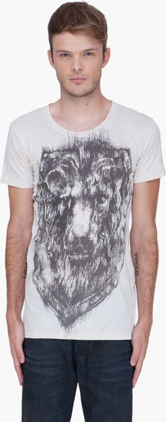 Balmain Lion Crest Sketch Tshirt in White for Men (cream) - Lyst