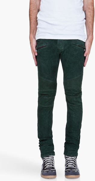 Balmain Olive Suede Biker Pants in Green for Men (olive)