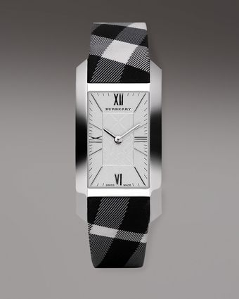 Burberry Checkengraved Rectangular Watch Silvertone - Lyst