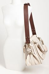 Chloé Paraty Military Leather Satchel in White (pearl) - Lyst
