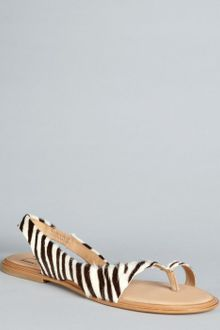 Diane Von Furstenberg Cream and Chocolate Zebra Print Pony Hair Kaiti Flat Sandals - Lyst