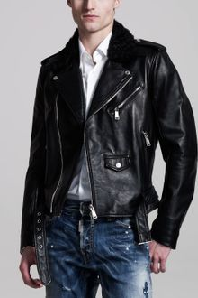 DSquared2 Shearlingcollar Leather Biker Jacket - Lyst