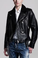 DSquared2 Shearling-collar Leather Biker Jacket - Lyst