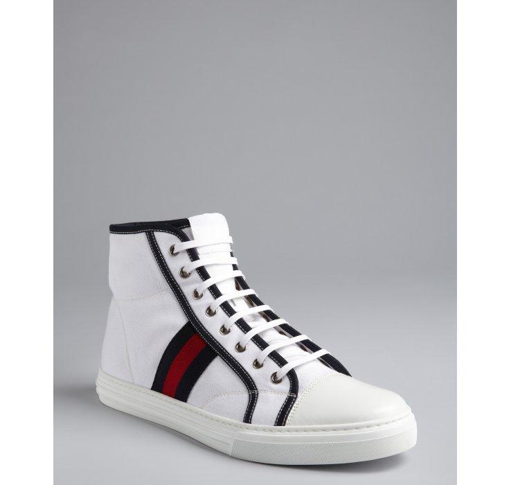 4e44a5d48bb Sneakers Gucci White Sneakers: Gucci White Canvas Web Stripe Hightop  Sneakers In White
