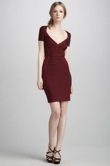 Hervé Léger Short Sleeve Bandage Dress - Lyst