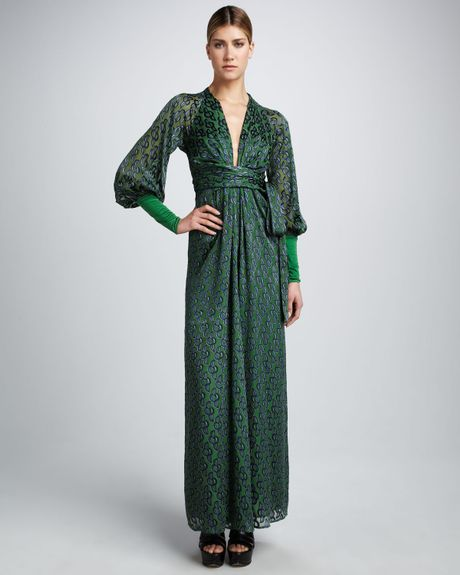 Issa Printed Rayonsilk Wrap Maxi Dress in Green - Lyst