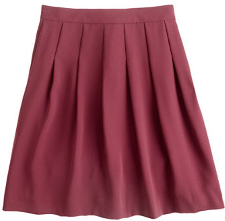 J.crew Pleated Skirt in Wool Crepe in Purple (cabernet) - Lyst