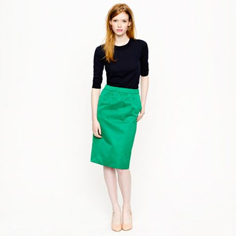 j crew collection satin pencil skirt in green patina