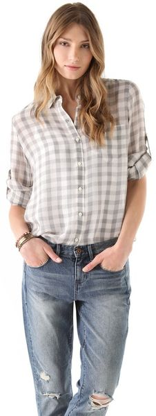 Madewell Gingham Silk Boy Shirt - Lyst