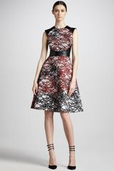 Monique Lhuillier Printed Wool Dress - Lyst