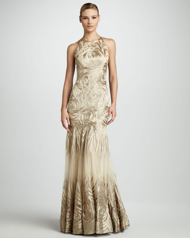 Lyst - Naeem Khan Rosepattern Gown in Natural
