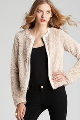 Rebecca Taylor Bomber Faux Fur With Leather - Lyst
