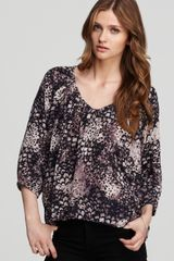 Rebecca Taylor Blouse Jackie Feather Printed Silk - Lyst
