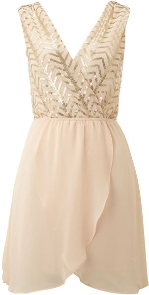 Tfnc Sequin Top with Cross Over Chiffon Skirt - Lyst