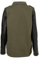 Topshop Contrast Sleeve Army Jacket in Green (khaki) - Lyst