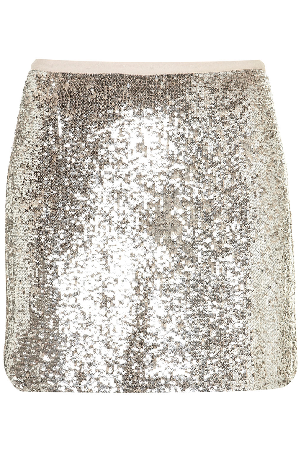 Topshop Silver Sequin Mini Skirt in Silver | Lyst