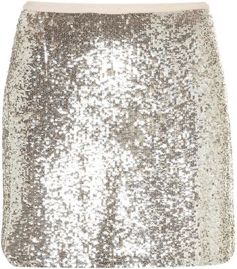 Topshop Silver Sequin Mini Skirt - Lyst